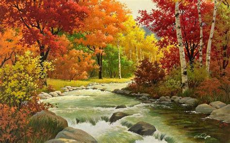 otoño, paisaje, pintura, río, fondo de pantalla hd madera ...