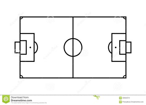 Outline Soccer Field. stock vector. Illustration of area ...