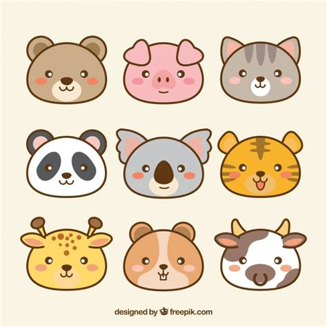 Pack de animales kawaii dibujados a mano | Descargar ...