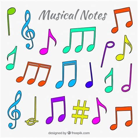 Pack de notas musicales de colores dibujadas a mano ...