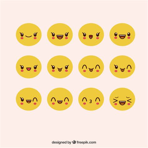 Pack of cute emoticons with expressive faces Vector | Free ...
