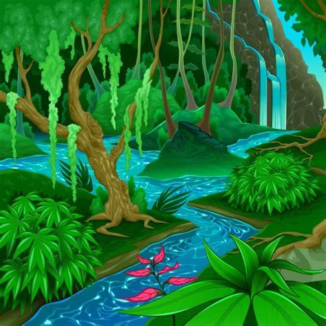 Paisaje de bosque con un río | Descargar Vectores gratis