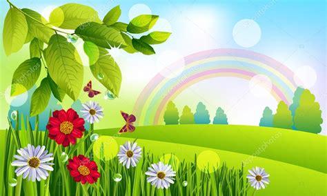 paisaje de primavera hermosa — Vector de stock © vedvid ...