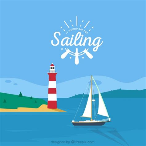 Paisaje de verano con un faro y un barco | Descargar ...