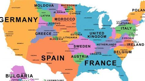 Países distribuidos en el mapa de Estados Unidos según su ...