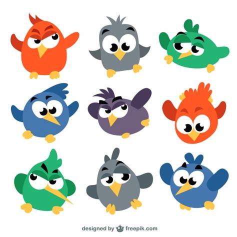 Pájaros de colores en estilo de dibujos animados ...