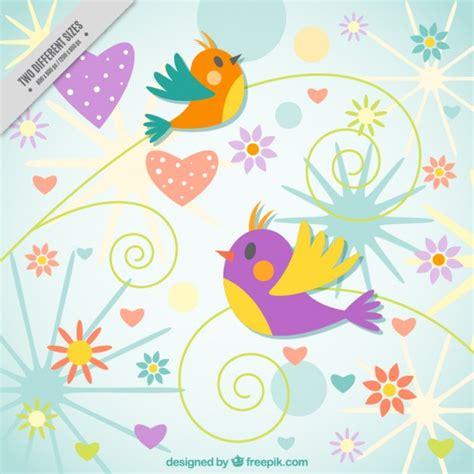 Pájaros de colores en fondo abstracto   Descargar Vectores ...