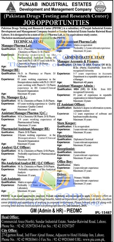Pakistan Drugs Testing and Research Center PDTRC Jobs ...