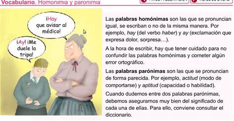 Palabras paronimas, homofonas, homonimas