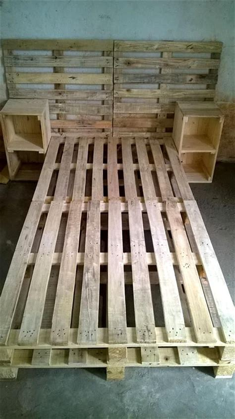 Pallet Bed Frame with Side tables and Headboard - | [RE ...