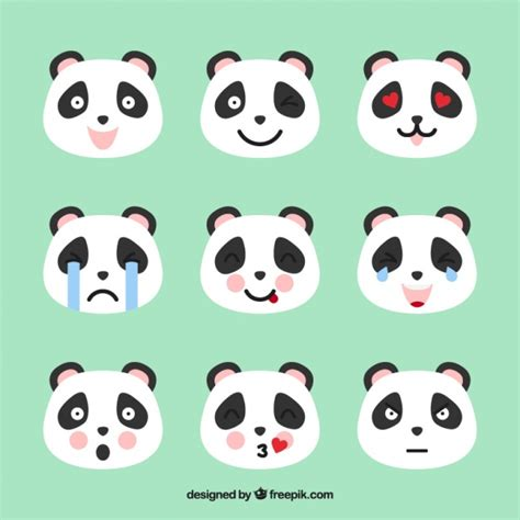 Panda emoticons with pink details Vector | Free Download