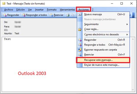 Pantallazos.es: Outlook: Recuperar Mensaje enviado.