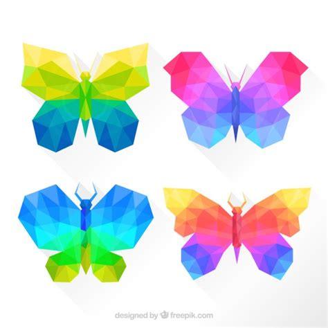 Papillons colorés dans un style géométrique | Télécharger ...