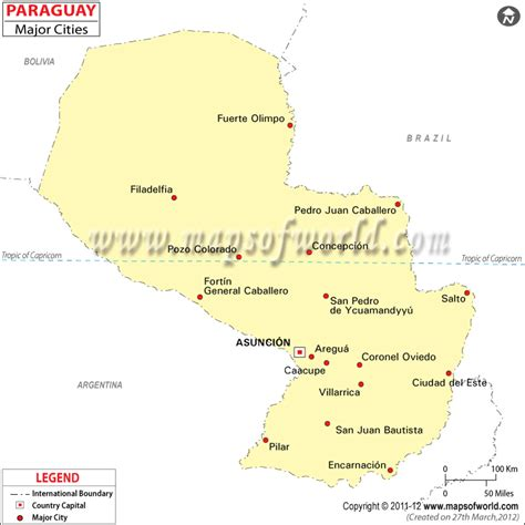 Paraguay Cities Map, Major Cities in Paraguay