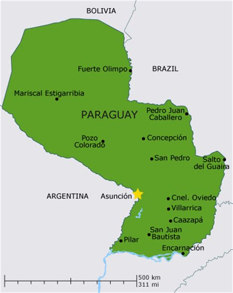 PARAGUAY MAP WITH CITIES   TravelsFinders.Com