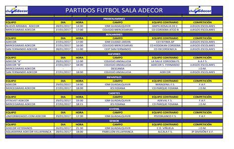 Partidos de fútbol sala de esta semana Club Adecor