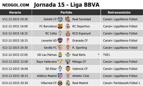 Partidos Jornada 15. Liga Española BBVA 2015 - Mundial ...