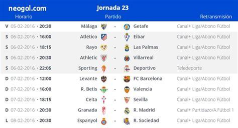 Partidos Jornada 23. Liga Española BBVA 2016 - Mundial ...