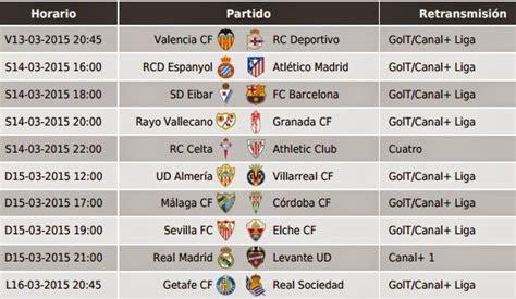 Partidos Jornada 27. Liga Española BBVA 2015 - Mundial ...