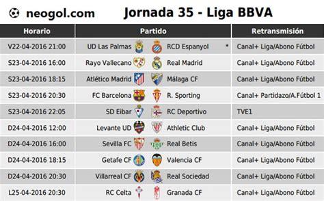 Partidos Jornada 35. Liga Española BBVA 2016   Liga ...