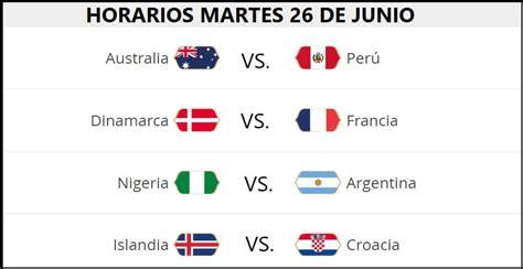 Partidos Martes 26 Junio Mundial Rusia 2018. Jornada 13 ...