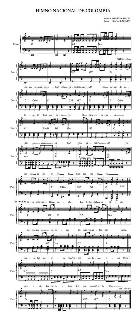 Partitura del Himno Nacional de la República de Colombia ...