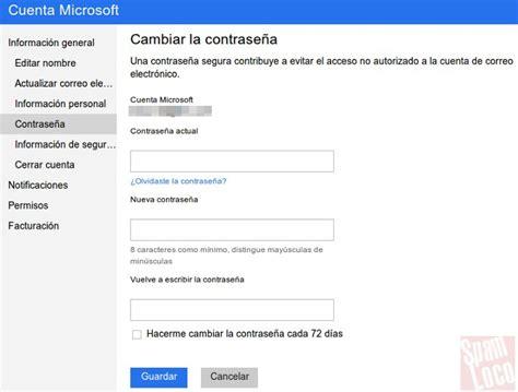 Pasos para cambiar la contraseña de Outlook