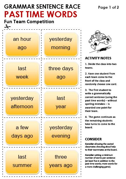 Past Time Words - All Things Grammar