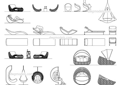 Patio Furniture CAD blocks, download AutoCAD drawings