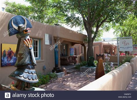 patio of art gallery, Canyon Road, Santa Fe, New Mexico ...