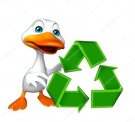 Pato de dibujos animados carácter con signo de reciclaje ...