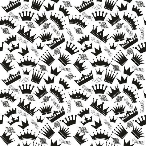 Patrón blanco y negro con coronas | Descargar Vectores gratis