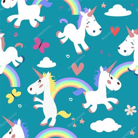 Patrón con unicornios de dibujos animados — Vector de ...