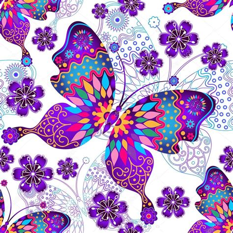 Patrón transparente con mariposas vintage — Archivo ...