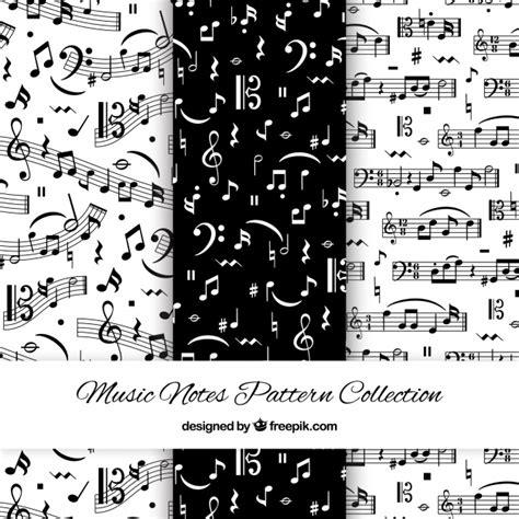 Patrones blanco y negro con notas musicales | Descargar ...