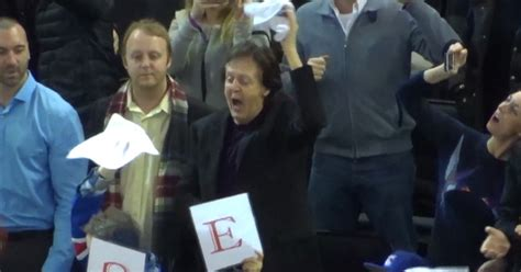 Paul McCartney    Rockin  Out at the NY Rangers Game ...