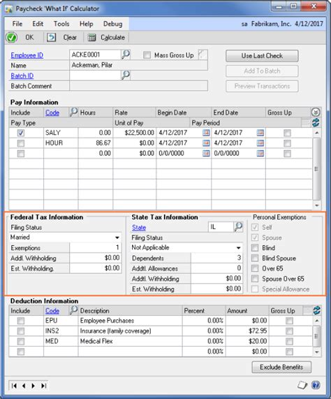 Paycheck Calculator - GP 2013 R2 Features