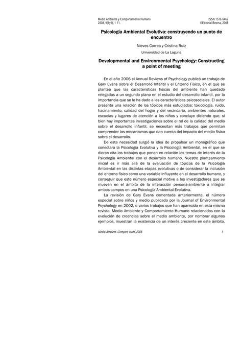 PDF  Psicología Ambiental Evolutiva: construyendo un ...