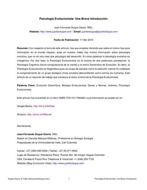 PDF  Psicología Evolucionista: Una Breve Introducción