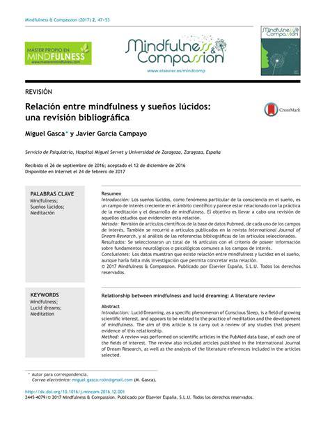 (PDF) Relación entre mindfulness y sueños lúcidos: una ...