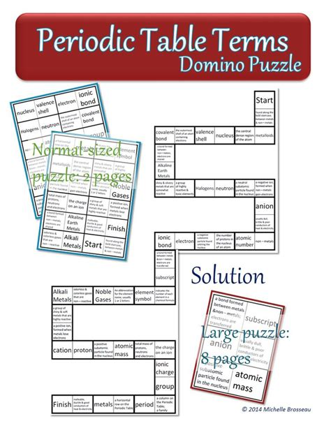 Periodic Table of Elements   Chemistry Terms Domino Puzzle ...