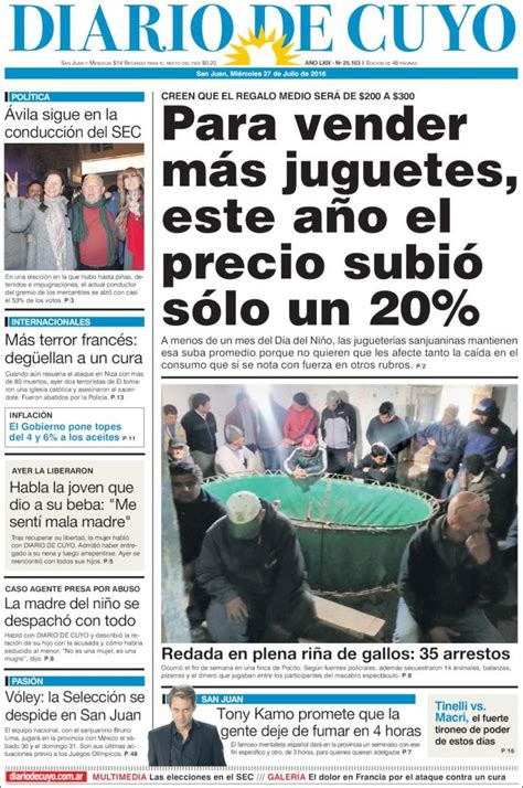 Periódico Diario de Cuyo  Argentina . Periódicos de ...