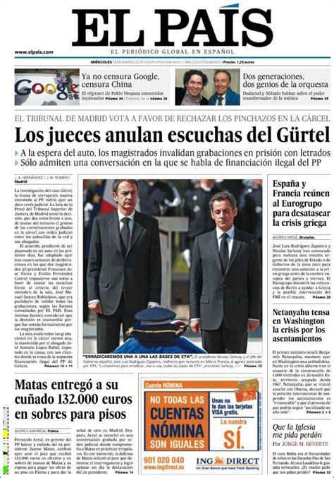 Periódico El País (España). Periódicos de España. Edición ...