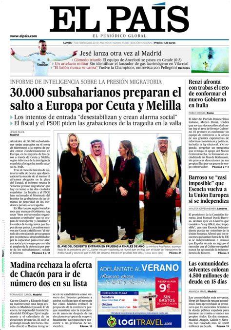 Periódico El País  España . Periódicos de España. Edición ...