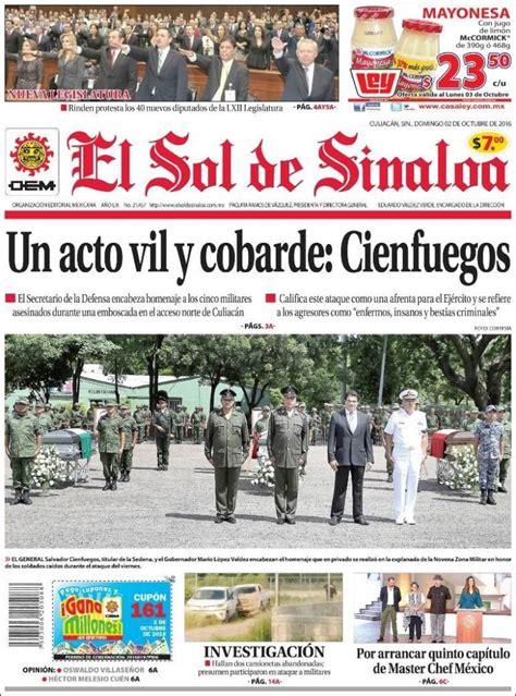 Periódico El Sol de Sinaloa  México . Periódicos de México ...