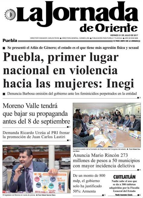 Periódico La Jornada de Oriente   Puebla  México ...