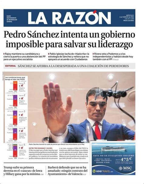 Periódico La Razón (España). Periódicos de España. Edición ...