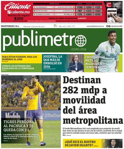 Periódico Publimetro   Monterrey  México . Periódicos de ...