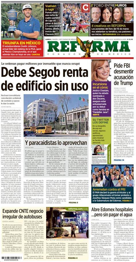 Periódico Reforma  México . Periódicos de México. Edición ...