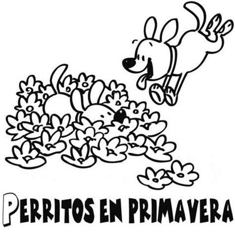 Perritos jugando en primavera: Dibujos para colorear